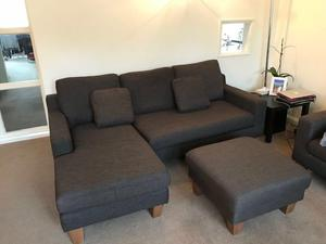 Dwell 3 seater corner sofa, 2 seater sofa and footstool