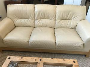 Leather sofas - cream (3 + 2 seater)