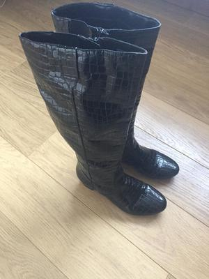 Pair of ladies black patent knee high boots size 6.