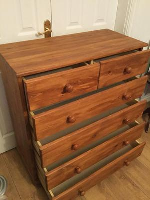Pine chest of drawers on bun feet