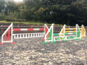 SET OF 3 HORSE SHOW JUMPS with poles, cups & fillers