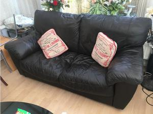 Chocolate leather sofas x 2 in Cowbridge