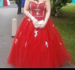 Poppy red prom dress