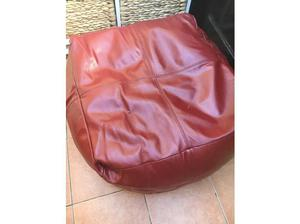 Red leather look pouffe very good condition in Felixstowe