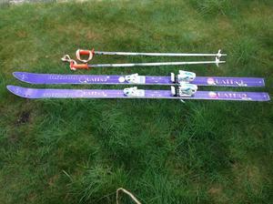 Skis with ski bag