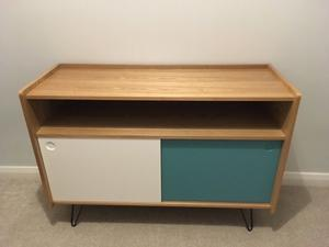 maisons du monde tv unit/console table brand new wooden with white and blue