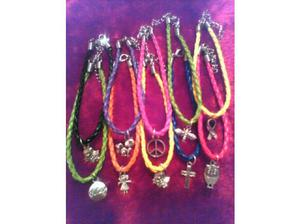10 x leather mixed colour bracelets with little pendants and