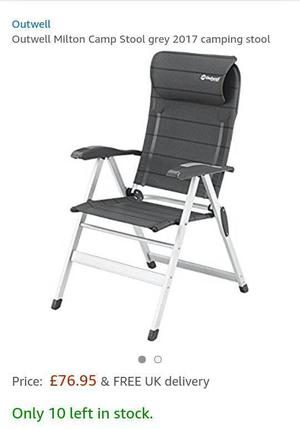2 Outwell folding camping chairs, garden, caravan, motorhome, not camping table, folding table.