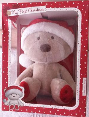First christmas beautiful brand new bear in a box with tags