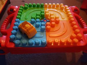 Mega blocks table and box of blocks for sale