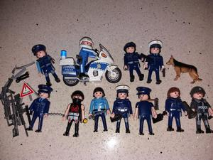 Playmobil policeman on motorcycle and figures