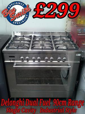 Range Cooker 90cm Delonghi Stainless Steel Dual Fuel