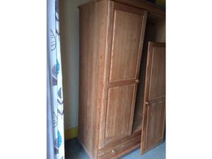 Solid Pine wardrobe with bottom drawer. in Dawlish