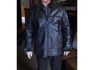 Mens faux leather, sheep-skin lined warm coat. Little used,