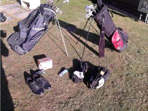 Two sets of golf clubs in Maldon