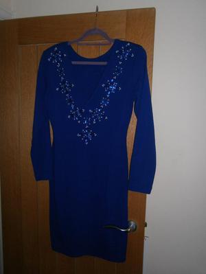 VINTAGE 80S DRESS ROYAL BLUE HARDLY WORN SIZE 12