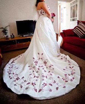 White wedding dress with red embroidery for sale!