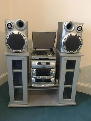 Music System with Storage Cupboard
