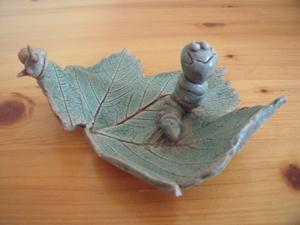 Perry Marsh Pottery, Cornwall caterpillar & snail on leaf.