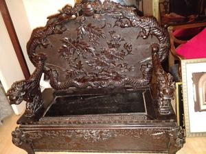 Antique Chinese carved two seater chair with under seat storage