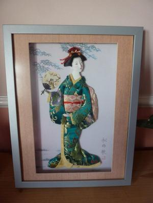 Beautiful 3D picture of a Japanese Lady in a box Frame.