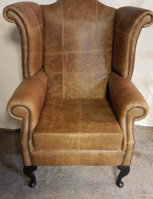 Brand new Vintage tan queen Anne wing chair