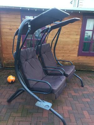Double garden swing chair.
