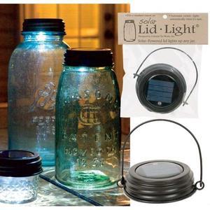 Hanging Solar Lid Light w/ Handle Fits Mason Jar Rustic