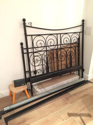 Ikea Noresund metal double bed frame with slats
