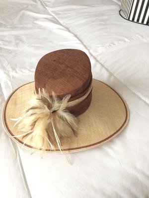 Large brown and beige ladies special occasion hat