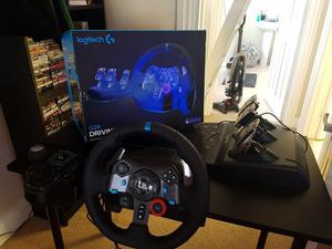 Logitech g29 steering wheel with pedals and gear shifter