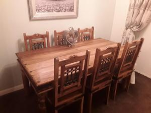 Rubberwood dining table with 6 chairs matching mirror and