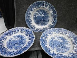 Staffordshire blue soup bowls
