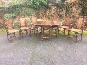 Vintage Dining Table with six Matching Chairs