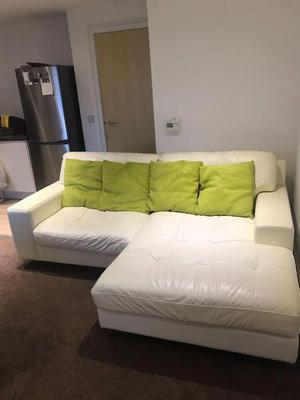White leather sofas