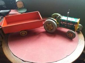 mettoy playthings tin plate clockwork tractor and trailer.