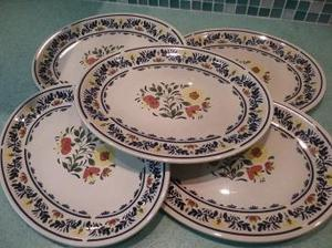 5 Wedgwood oven to table oval plates Breton pattern
