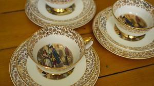 Trio of cups with cake plates - Vintage Cries of London