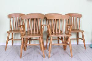 DELIVERY OPTIONS - 6 X SOLID BEECH FARMHOUSE CHAIRS INCL 2