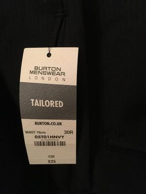 Smart tailored trousers. Brand new Burton Menswear.