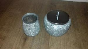 Sparkley Toothbrush holder and cotton wool jar