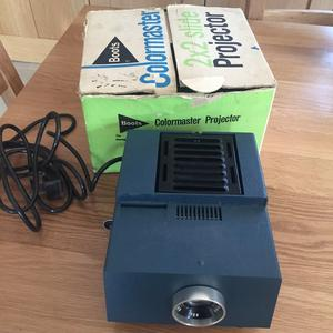 Vintage Boots Colormaster 2 x 2 inch slide projector in original box and in working order.
