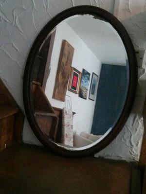 Mirror, large oval wooden frame mirror, vintage.
