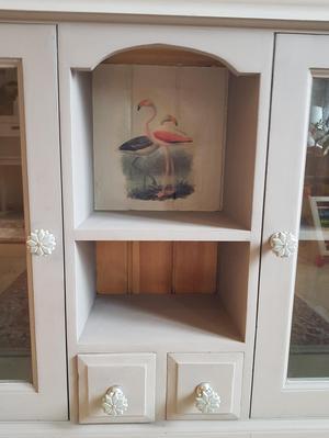 Display cabinet oak chalk painted
