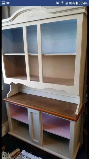 Painted shabby chic solid wooden dresser/display unit