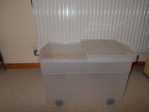 Plastic Storage Box on Wheels- H 34cm x L 56cm x W 39.5cm