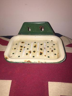 Vintage reclaimed enamel soap dish with drainer