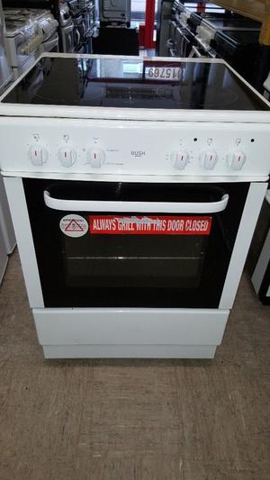 Bush 60cm wide, single cavity electric cooker with ceramic top, white.