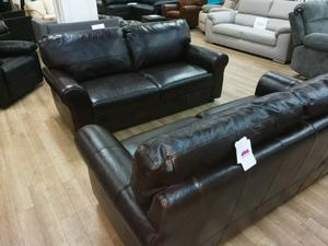 Dark brown Salisbury top grade leather 3 seater sofas