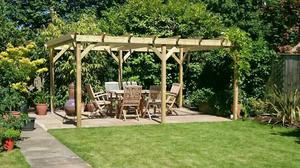 wooden tanalised garden arch pergola posot class. Black Bedroom Furniture Sets. Home Design Ideas